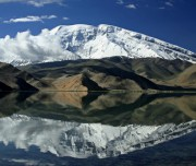 A view of beautiful lake and Mustagh Ata (7,546m) Expedition