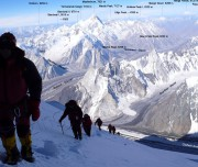 trekkers on broad peak and all the other peaks beside them including k1