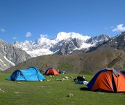 Tirich mir camp and view of Trichi mir peak on the back