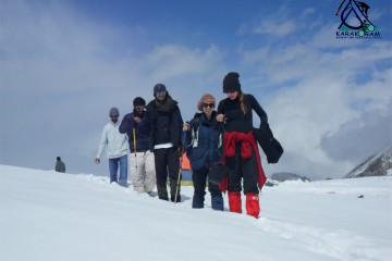 trekkers returning form diran peak expedition